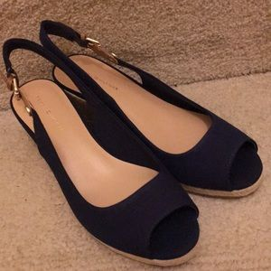 Tommy Hilfiger Navy Blue Wedge Shoes - Size 8